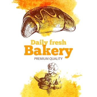 Fondo de acuarela y dibujo de panadería. ilustración de dibujado a mano vintage. diseño de paquete