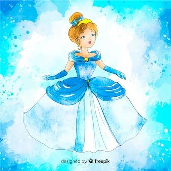 Fondo acuarela dibujo de una princesa