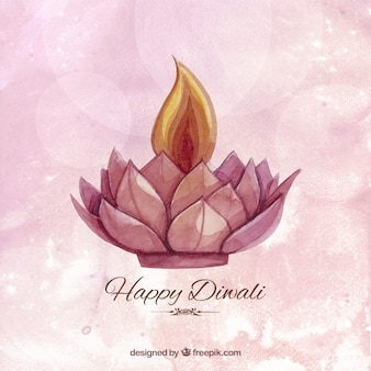 Fondo de acuarela de diwali con una vela