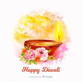 Fondo acuarela diwali con vela