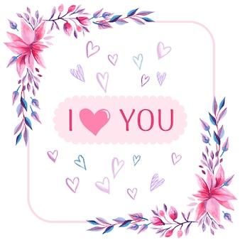 Fondo de acuarela doodle de amor