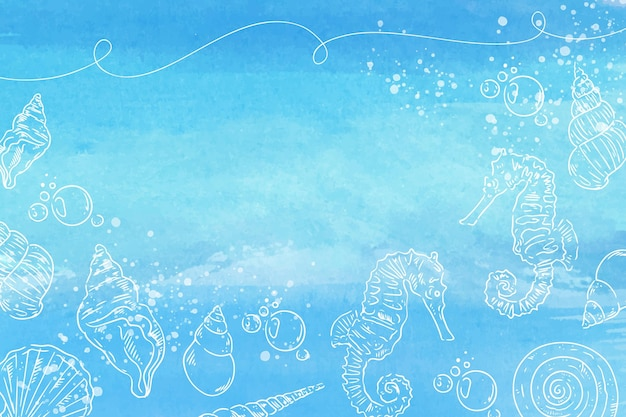 Fondo de acuarela con elementos abstractos dibujados a mano
