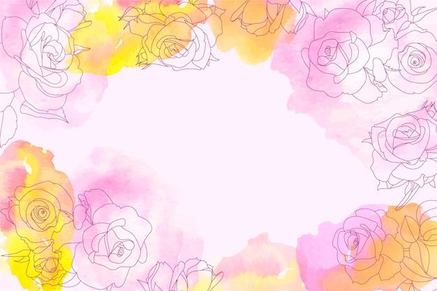 Fondo de acuarela con elementos florales dibujados a mano