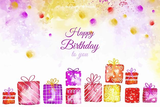 Fondo acuarela feliz cumpleaños con regalos