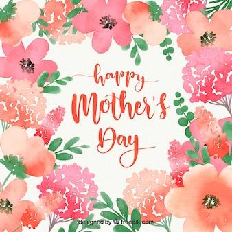 Fondo de acuarela feliz día de la madre con flores