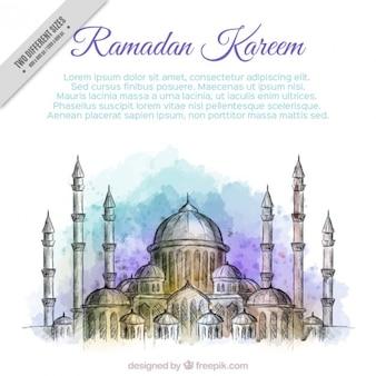 Fondo de acuarela de feliz ramadan