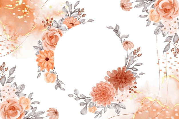 Fondo de acuarela flor naranja tema de otoño con espacio en blanco