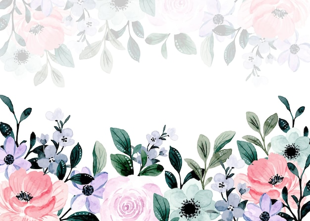 Fondo acuarela floral púrpura rosa suave con hojas verdes