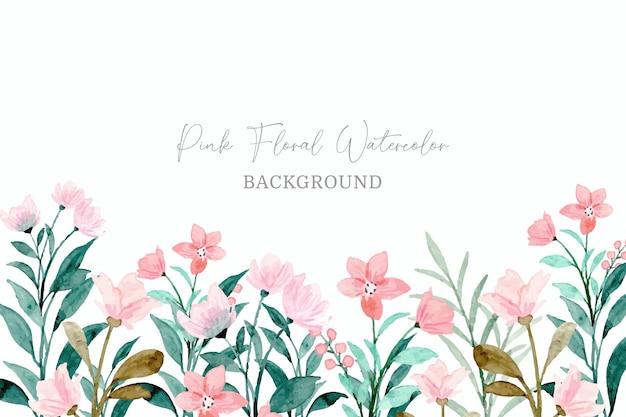 Fondo acuarela floral salvaje rosa con hojas verdes