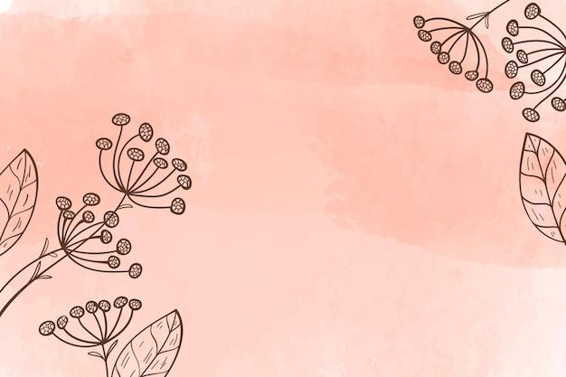 Fondo de acuarela con flores dibujadas a mano