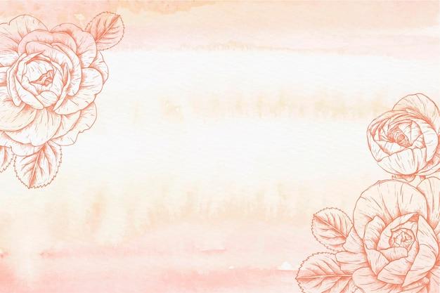 Fondo de acuarela con flores dibujadas