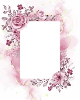 Fondo de acuarela de flores y hojas de oro rosa con espacio en blanco