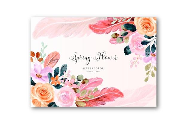 Fondo acuarela de flores y plumas