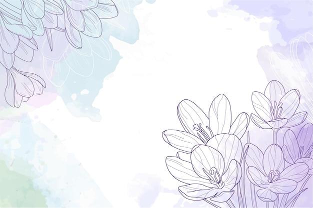Fondo acuarela flores vintage grabado