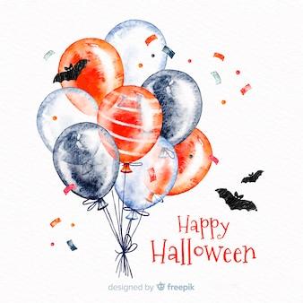 Fondo acuarela de halloween con globos y murciélagos