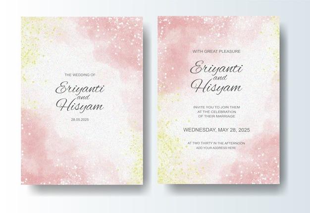 Fondo acuarela hermosa tarjeta de boda con splash