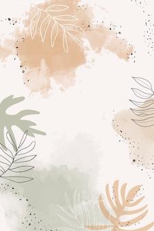 Fondo de acuarela de hojas beige