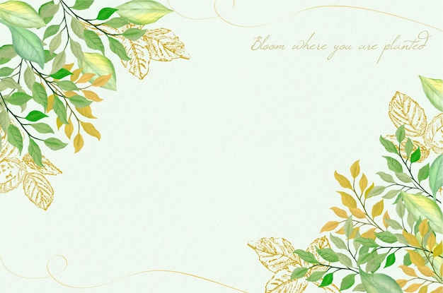 Fondo con acuarela y hojas doradas