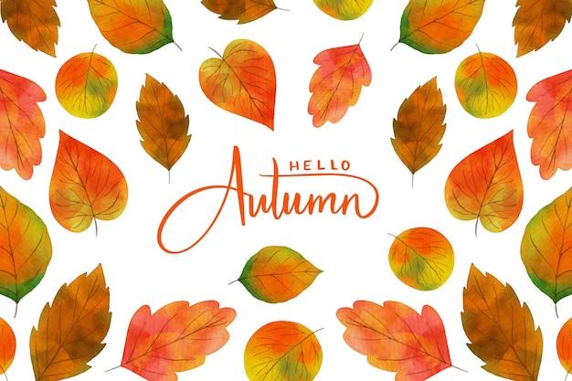 Fondo de acuarela de hojas de otoño