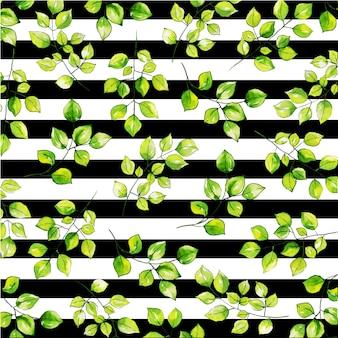 Fondo de acuarela hojas patrón con rayas