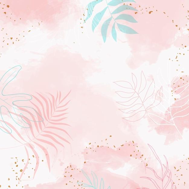 Fondo de acuarela de hojas rosadas