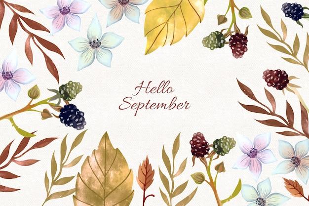 Fondo acuarela hola septiembre
