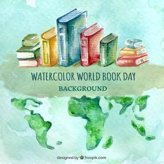 Fondo de acuarela con libros y mapa del mundo