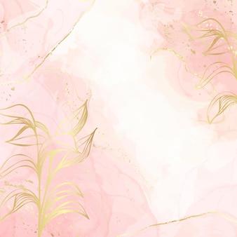 Fondo de acuarela líquida de rubor polvoriento abstracto con elementos de decoración floral dorados