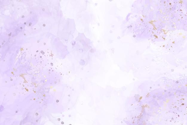 Fondo de acuarela líquida violeta abstracta con manchas doradas