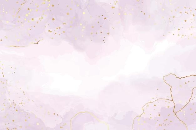 Fondo de acuarela líquida violeta abstracta con manchas y líneas doradas