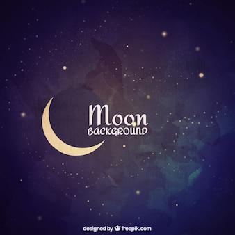 Fondo de acuarela con luna y estrellas