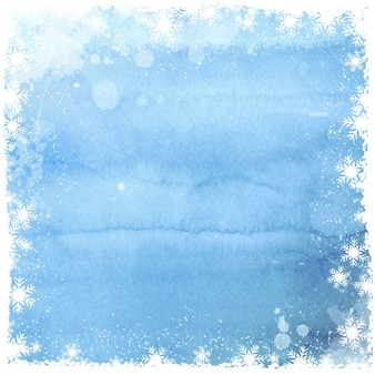 Fondo acuarela con marco de copos de nieve blancos