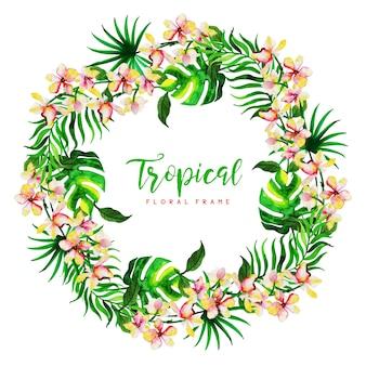 Fondo acuarela marco floral tropical