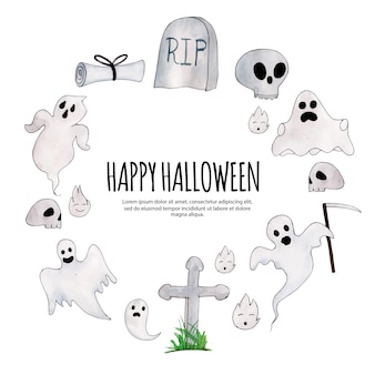 Fondo acuarela marco de halloween