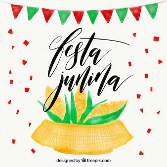 Fondo de acuarela con mazorcas de maíz de festa junina