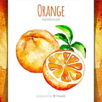 Fondo acuarela naranja dibujada a mano