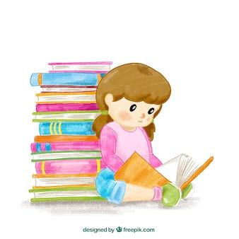 Fondo de acuarela de niña leyendo un libro