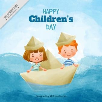 Fondo de acuarela con niños felices navegando en un barco de papel