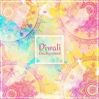 Fondo de acuarela ornamental de diwali