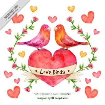 Fondo de acuarela de pájaros enamorados con corazones