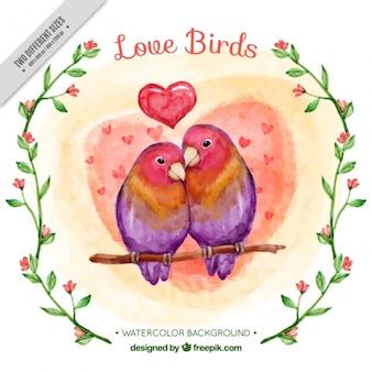 Fondo de acuarela de pájaros enamorados
