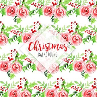Fondo de acuarela patrón de navidad