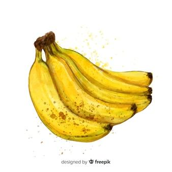 Fondo acuarela plátano dibujado a mano