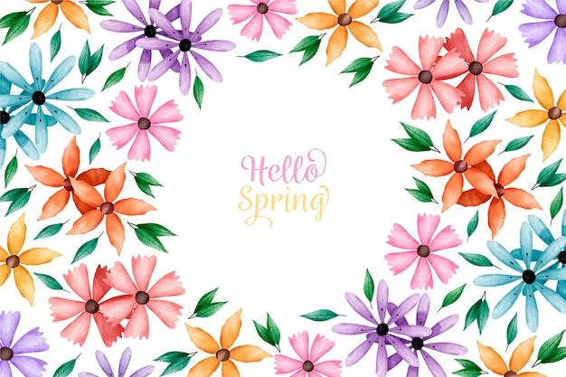 Fondo de acuarela de primavera con flores de colores