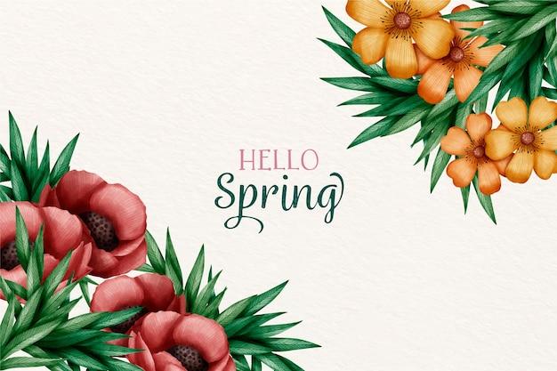 Fondo de acuarela primavera con saludo