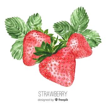 Fondo acuarela realista fresas
