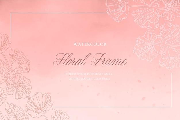 Fondo de acuarela romántica con marco floral