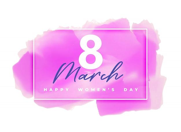 Fondo de acuarela rosa para el día de la mujer feliz