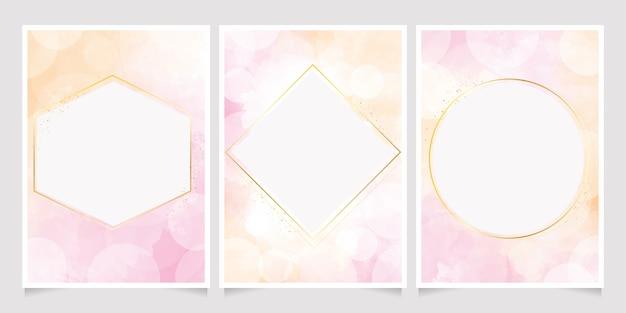 Fondo de acuarela rosa y dorado con bokeh para tarjeta de invitación de boda 5x7 con marco dorado