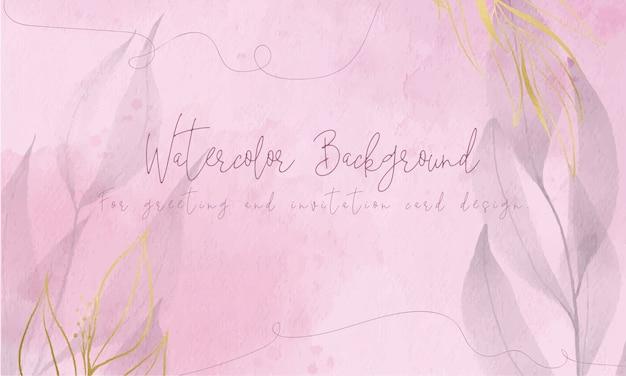 Fondo de acuarela rosa con hojas de papel de oro para el diseño de tarjetas de felicitación e invitación.